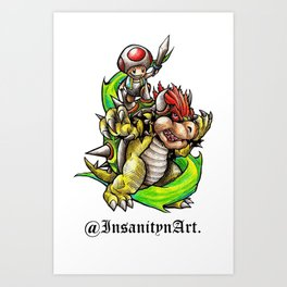 Insanity n Art.'s Bowser n Toads Adventure Design Art Print