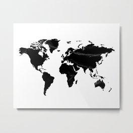 World map, Marble, Scandinavian, Modern art, Art, Minimal, Wall art Print Metal Print