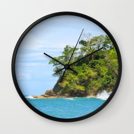 Ocean and forest cliff at Manuel Antonio Costa Rica Wall Clock