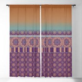 Purple Teal Orange Boho Mandala Tile Ombre Mixed Pattern Blackout Curtain