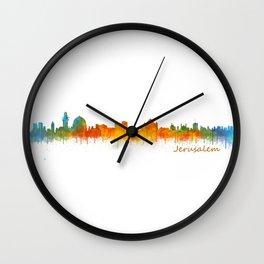 Jerusalem City Skyline Hq v2 Wall Clock