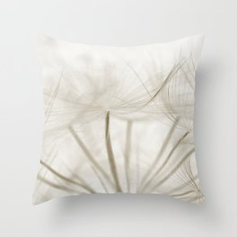 Dandelion Neutral Closeup Throw Pillow