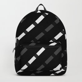 black white gray stripes dashed lines abstract 3d geometric Backpack