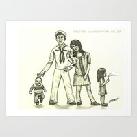 military Art Prints featuring Military Family by SGT. WHO / RRATT