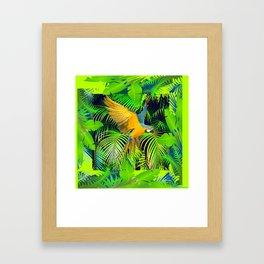 BLUE & GOLD MACAW JUNGLE  ART DESIGN Framed Art Print