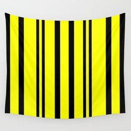 NEON YELLOW AND BLACK THIN AND THICK STRIPES Wall Tapestry