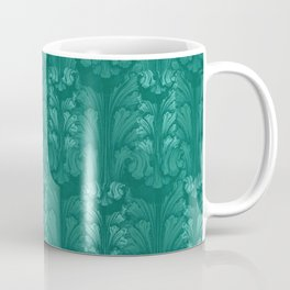 Teal Classic Acanthus Leaves Pattern Coffee Mug