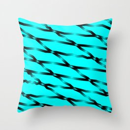 Slanting black lines and rhombuses on light blue with intersection of glare. Throw Pillow