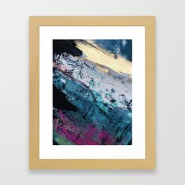 Twilight [2]: a beautiful, abstract watercolor + mixed-media piece in blue, gold, purple, + pink Framed Art Print