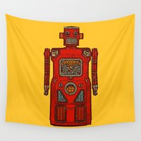 robot Wall Tapestries featuring Robot IV by Silvio Ledbetter
