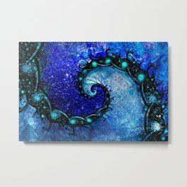 Beautiful Blue Nocturne of Scorpio Sapphire Spiral Metal Print