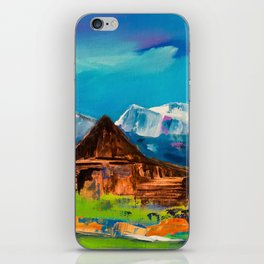 Sunny Day Over Teton Barn iPhone Skin