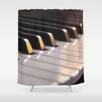piano Shower Curtains featuring Piano by Herzensdinge