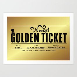 Wonka's Golden Ticket Art Print