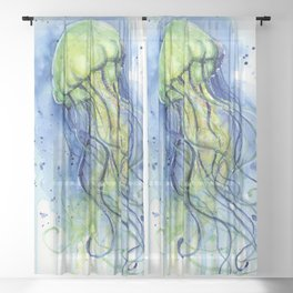 Jellyfish Watercolor Beautiful Sea Creatures Sheer Curtain