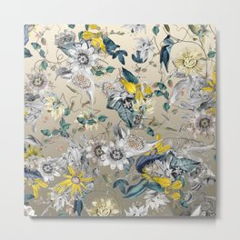 Exotic Elegant Fragrant Floral Garden in Gold Metal Print