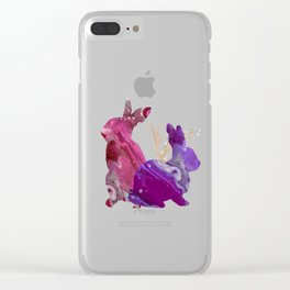 Easter Bunny Fluid Marble Acrylic Art Spring Purple Pink Rabbit Clear iPhone Case