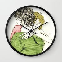 les mis Wall Clocks featuring ExR Hug les mis by Pruoviare