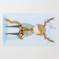 antler Area & Throw Rugs featuring Antler boy by bearfish