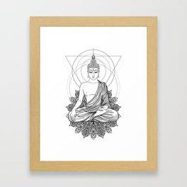 Sitting Buddha isolated on white Framed Art Print
