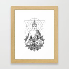 Sitting Buddha isolated on white Framed Art Print