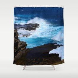 Luxurious, Tropical Ocean Surf in Azure and Turquoise Shower Curtain