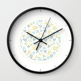 Assorted Leaf Silhouettes Pattern Color Mix Wall Clock