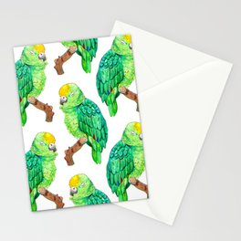 Sleepy Parrot Watercolor Pattern Stationery Cards