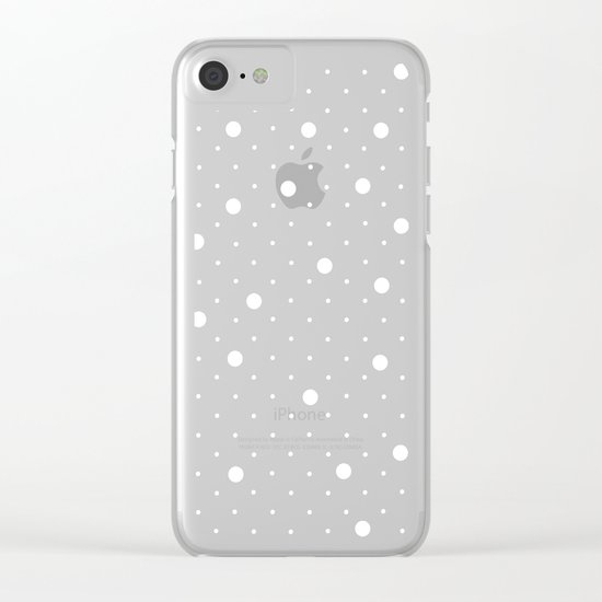 Pin Point Polka Dots White on Black Clear iPhone Case