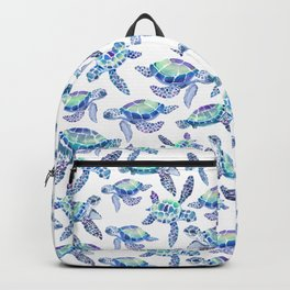 Turtles in Aqua and Blue Backpack