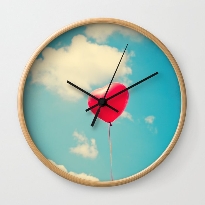 Love Is In The Air Red Heart Balloon On A Retro Blue Sky Wall Clock By Andreka Society6