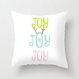Holiday JOY antlers - coastal Christmas Throw Pillow