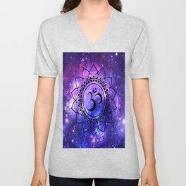 Om Mandala: Purple Blue Galaxy Unisex V-Neck