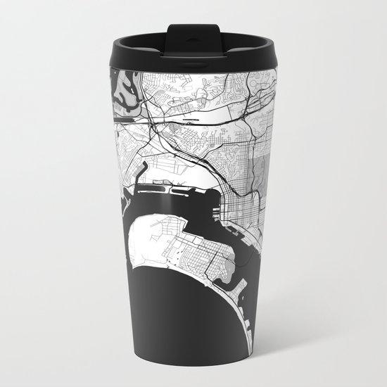 San Diego Map Gray Metal Travel Mug