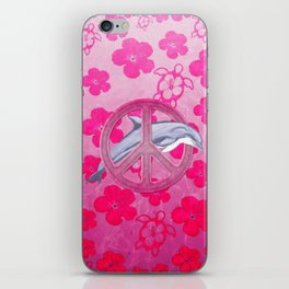 Dolphin Pink Peace Sign And Flowers iPhone Skin