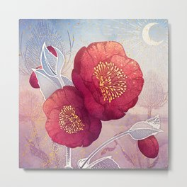 Christmas Roses :: Red Petals, Frosted Leaves Metal Print