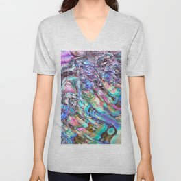 Shimmery Rainbow Abalone Mother of Pearl Unisex V-Neck