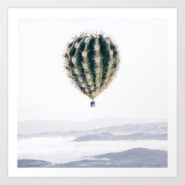 Flying Cactus Art Print