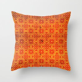 N67 - Yellow & Red Vintage Antique Geometric Traditional Moroccan Style. Throw Pillow