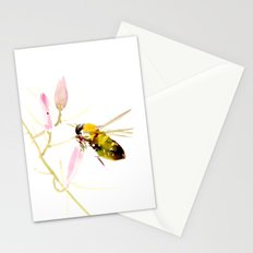Bee and Pink Flowers Stationery Cards