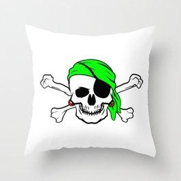 Halloween Pirate Skull Crossbones Bandana Eyepatch Throw Pillow