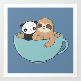 Kawaii Cute Panda and Sloth Art Print