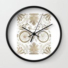 Bike and Flowers // Hand drawn Folk Art // Gold Wall Clock