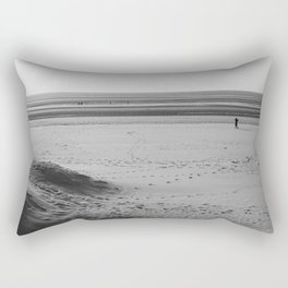 Beach in winter with some walkers Rectangular Pillow