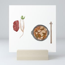 Watercolor Illustration of Chinese Cuisine - Braised Beef Brisket with Radish   萝卜炖牛腩 Mini Art Print