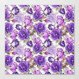 Violet lilac pink watercolor botanical roses floral Canvas Print