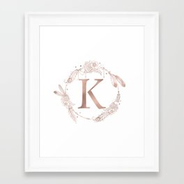 Letter K Rose Gold Pink Initial Monogram Framed Art Print