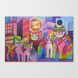 Rainbow City Cats Canvas Print