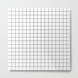 Grid in White/Black Metal Print