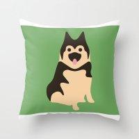 german Throw Pillows featuring German Shepherd by Fandango089